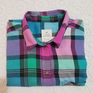 Plaid Flannel Shirt, Green/ Pink Multi, Sz Lg